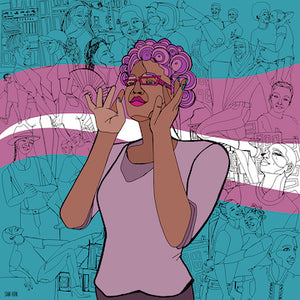 Queertopia Trans Flag Sticker