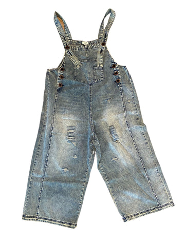 Distressed Denim Boyfriend Overalls