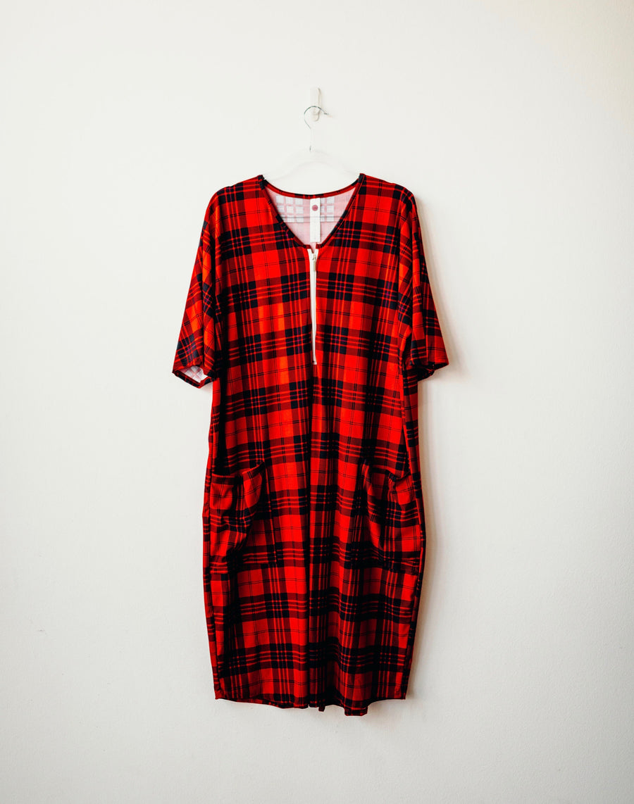 Red Plaid Classic Zip