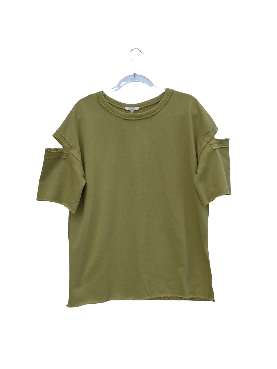 Green Tea Terry Knit Open Sleeve Pullover