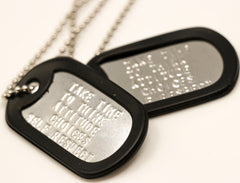 TAKE TIME TO THINK dog tags.