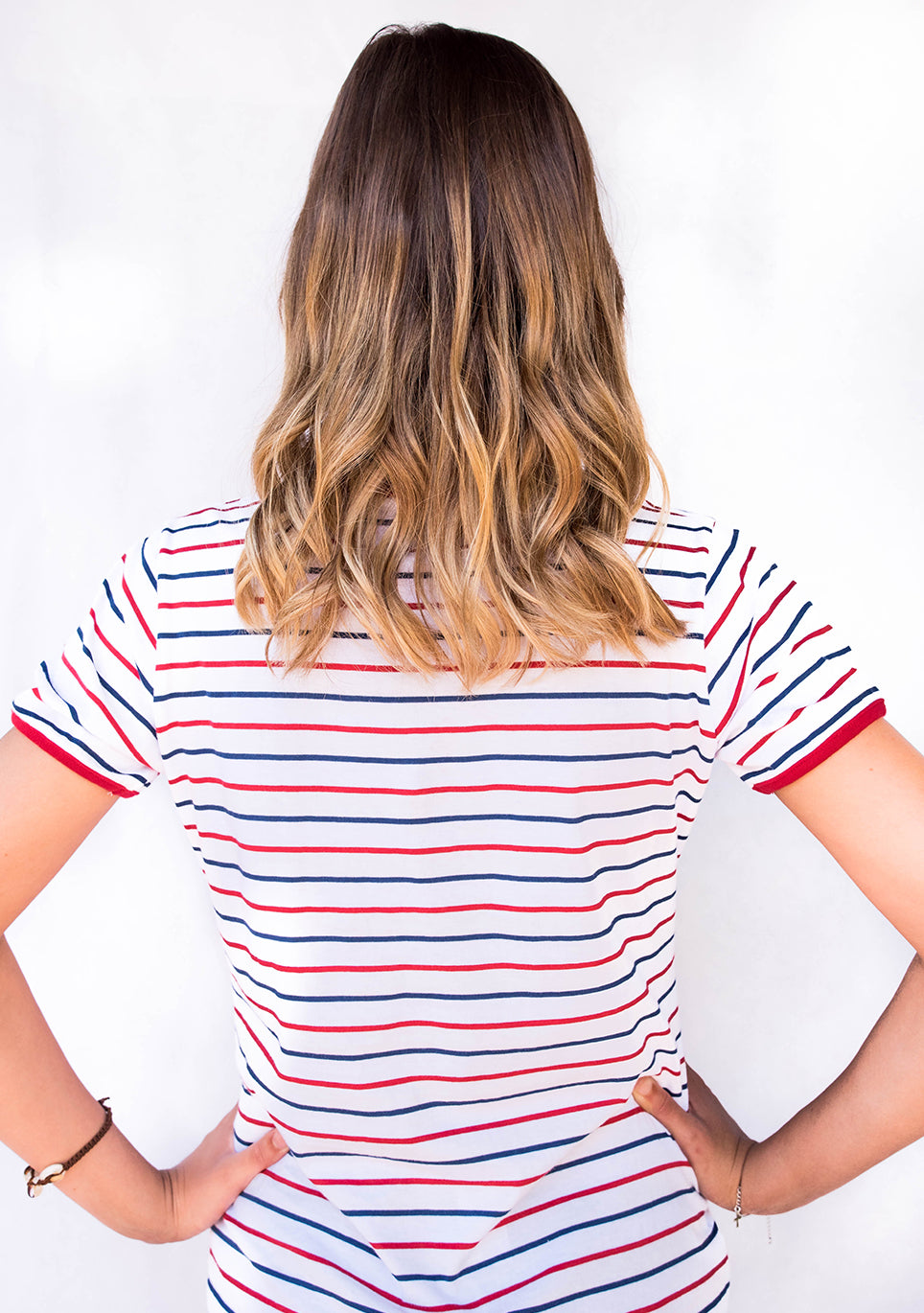 GBW HOLLY TEE WHITE/RED/NAVY