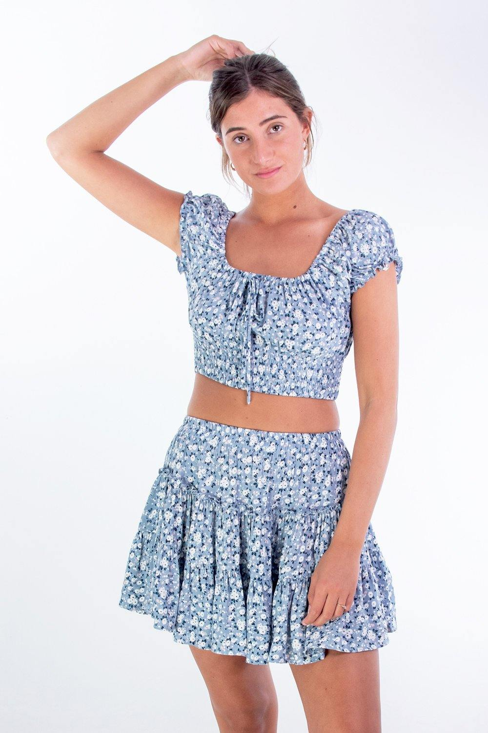 ELSA SKIRT - Blue Daisy