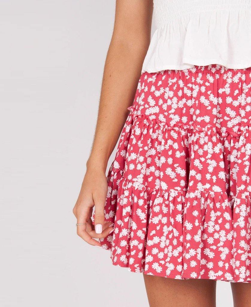 Elsa Skirt | Random Daisy Red