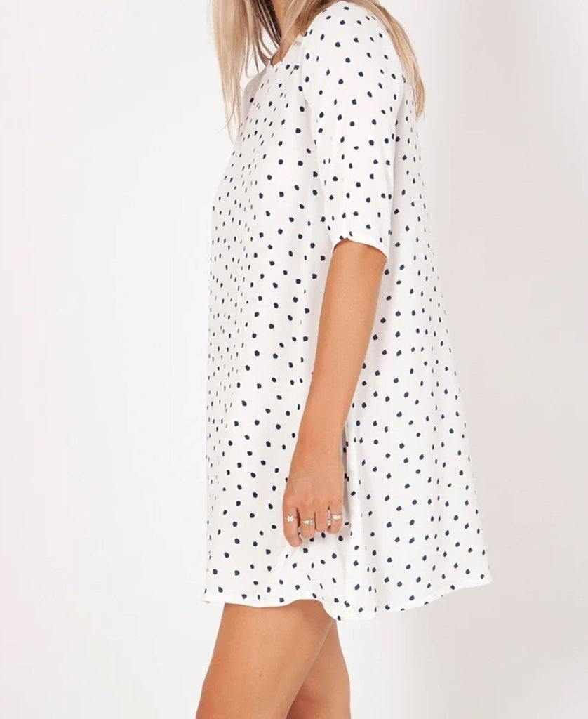 Fleur Dress | Polka Dot White