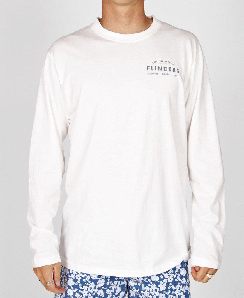 Flinders Old School LS Tee | Off White