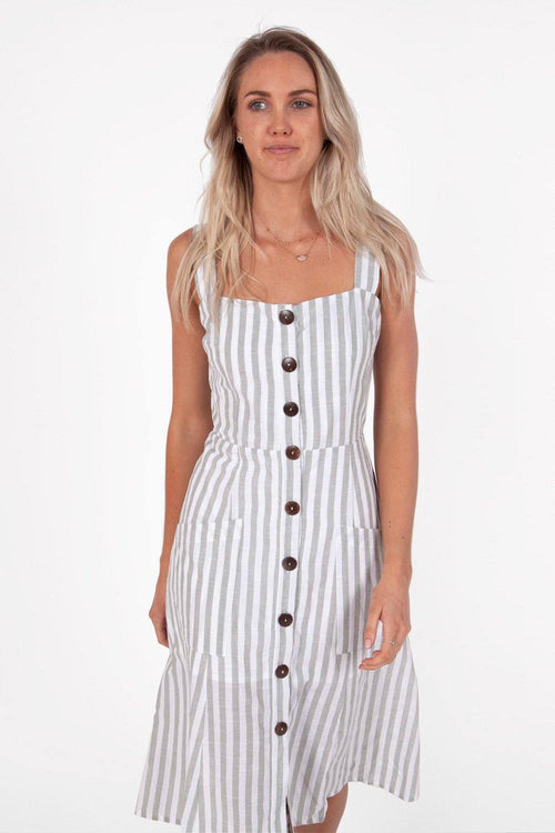 Vivien Midi Dress | Sage Stripe Linen