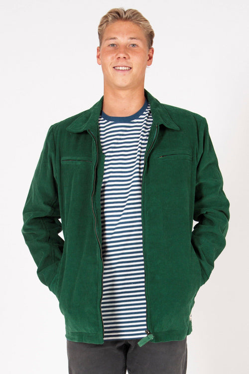 CORD ZIP THROUGH JACKET - GREEN