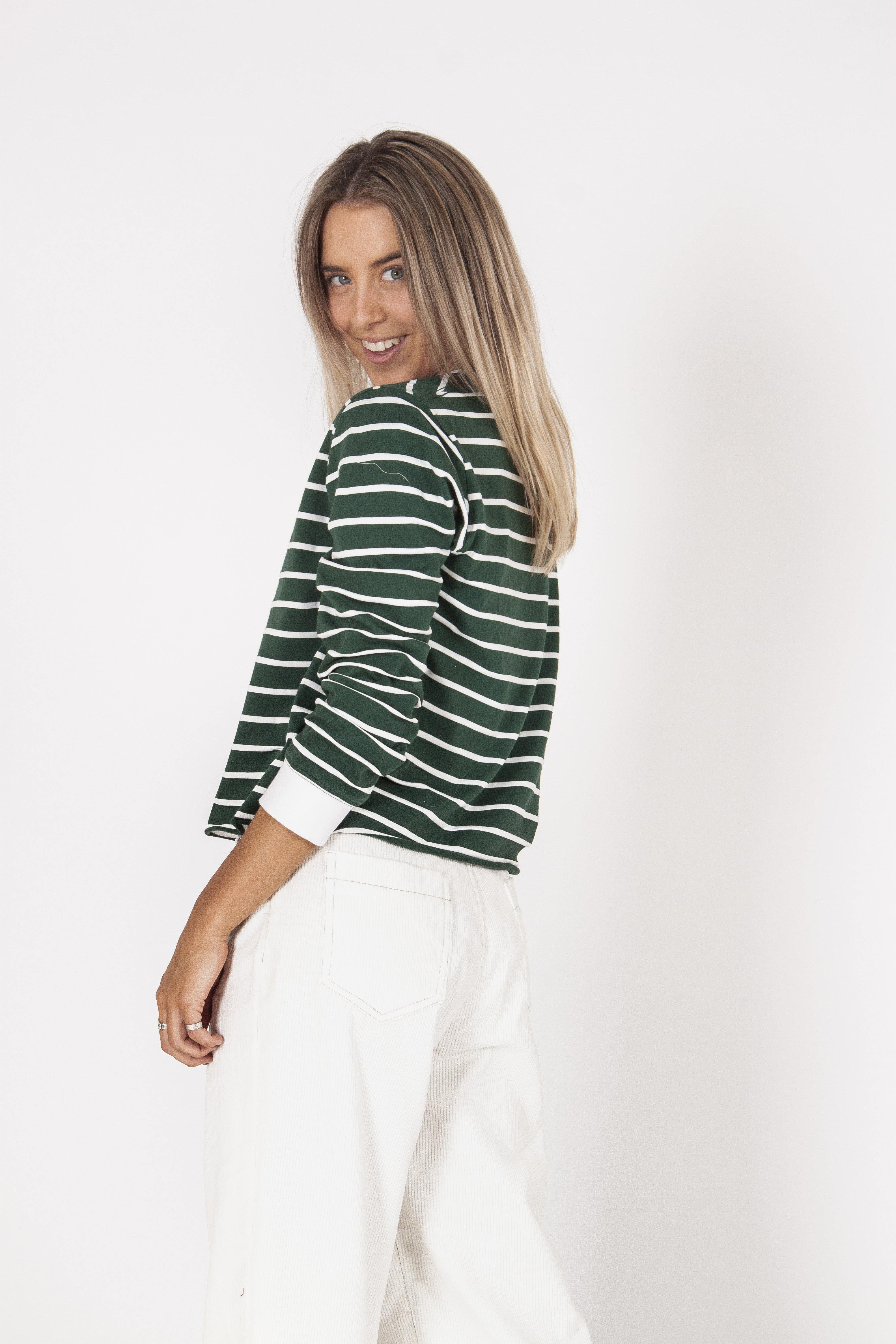 XANTHE LONG SLEEVE TEE - GREEN STRIPE