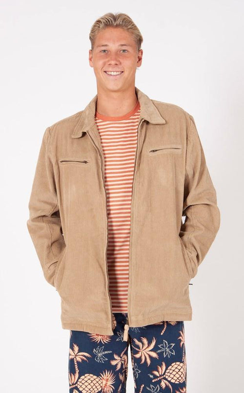 CORD ZIP THROUGH JACKET - DARK CAMEL