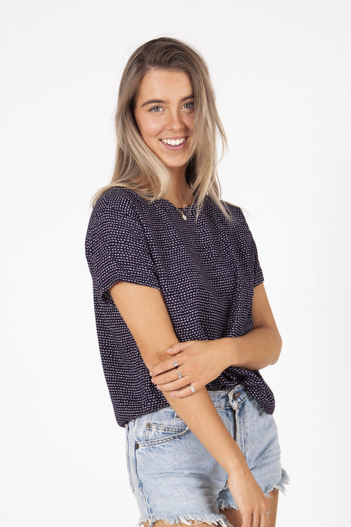 Sarah Top | Navy Dot