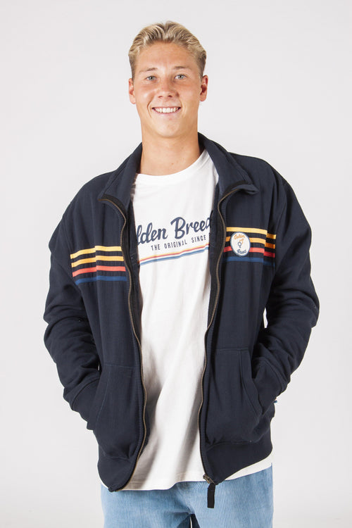 GBM ZIP THROUGH TOWEL JACKET - NAVY