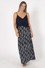 Sunset Maxi Skirt | Navy Paisley