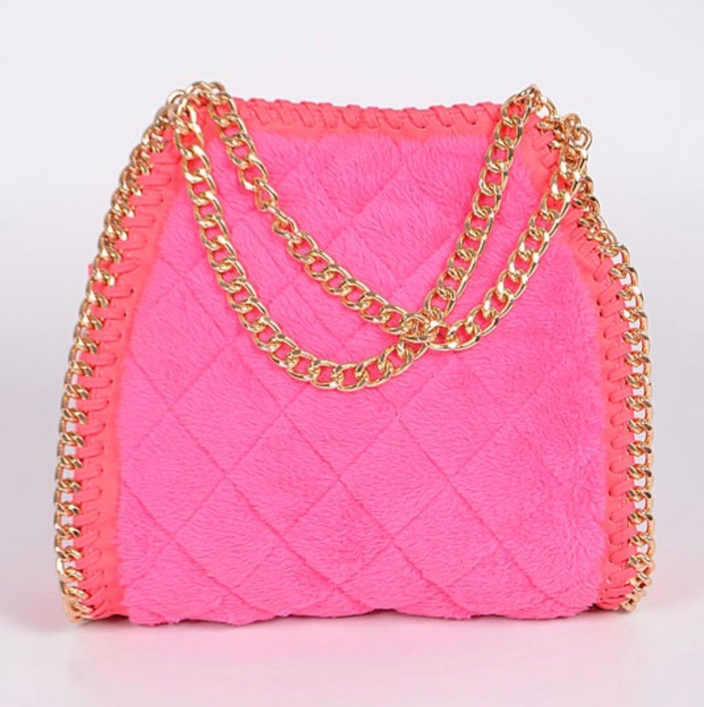 Neon Velvet Gold Chain Handbag