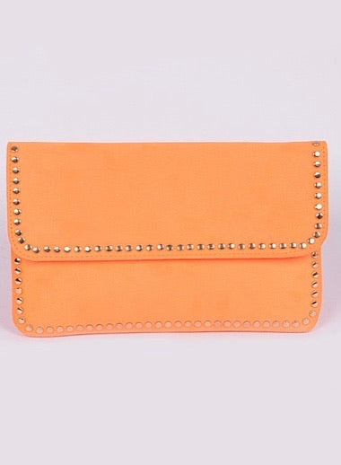 Neon Orange Studded Clutch
