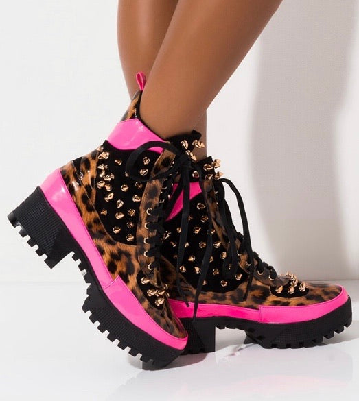 Spiked Leopard Combat Boot