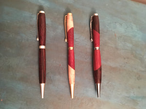 Thin line wooden Hand-Turned Ball Point Pen