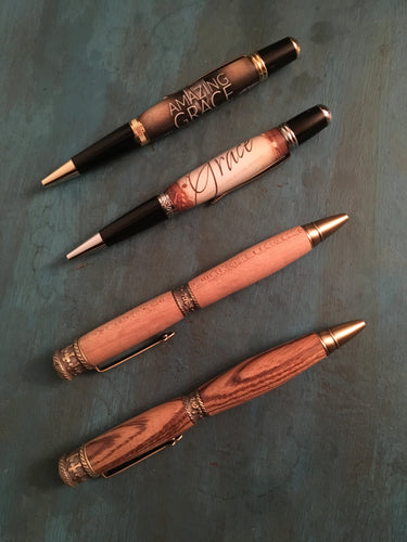 Hand-Turned Wooden or Acrylic Inspirational Pens Amazing Grace/Faith Hope and Love