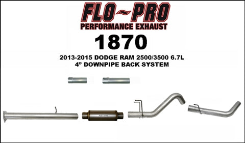 "Flo Pro 4"" Aluminzed Steel Downpipe-Back Exhaust System"