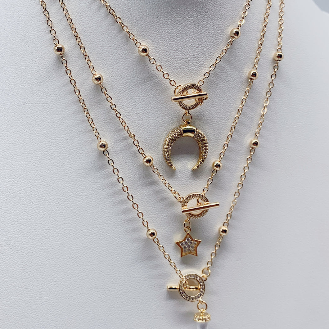 Gold Ball chain necklace with toggle clasp