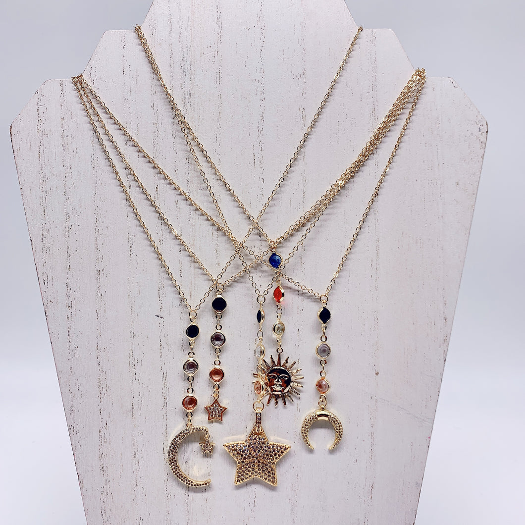 Crescent Moon, Sun,Stars & moon gold chain necklaces