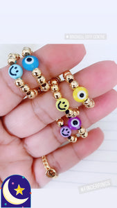 Gold Finger ring with evil eye & smiley face