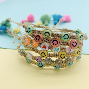 Smiley gold colors macrame bracelets