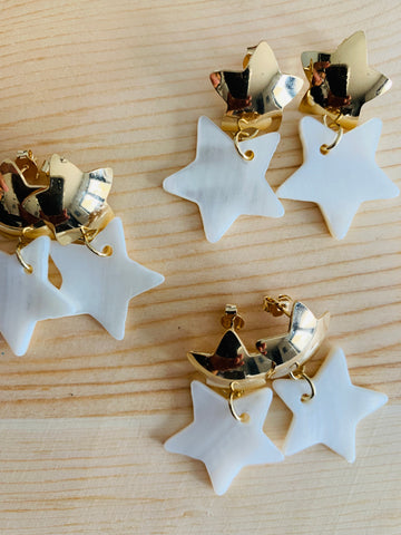 Gold star/nacar earrings