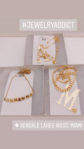Custom name gold letters & pearls