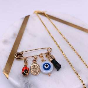 Evil eye necklace & pin