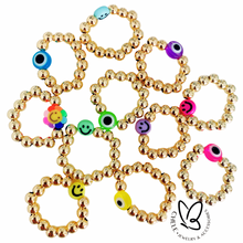 Load image into Gallery viewer, Gold Finger ring with evil eye & smiley face