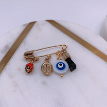 Load image into Gallery viewer, Evil eye necklace & pin