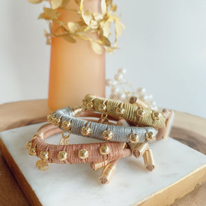 Leather metallic rose gold bracelet - Cheleaccesorios