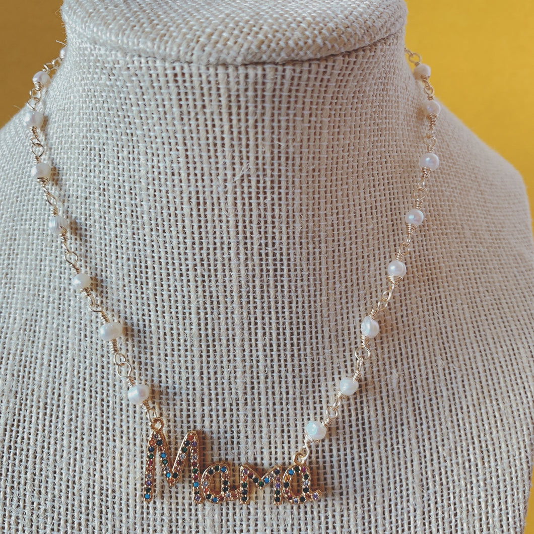 MOM  & MAMÀ multicolor necklace with pearls