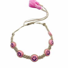 Load image into Gallery viewer, Smiley gold colors macrame bracelets