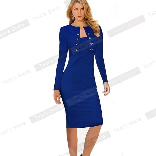 r Long Sleeve Buttons office Business Dress Elegant Plus Size