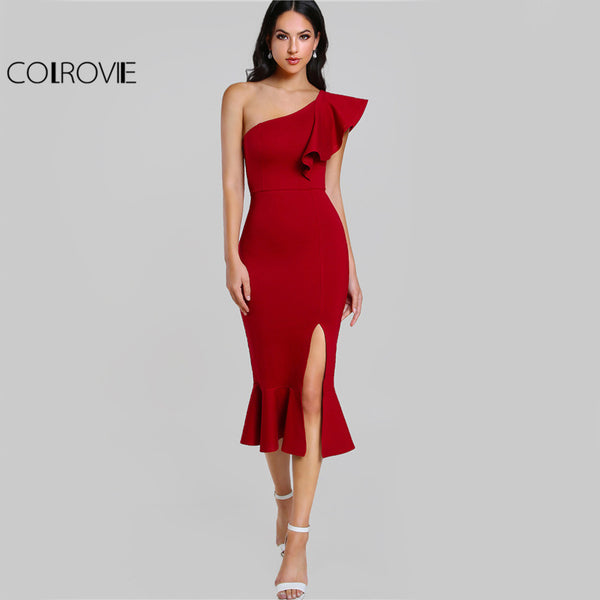COLROVIE Slit Fishtail Summer Party Dress Burgundy One Shoulder