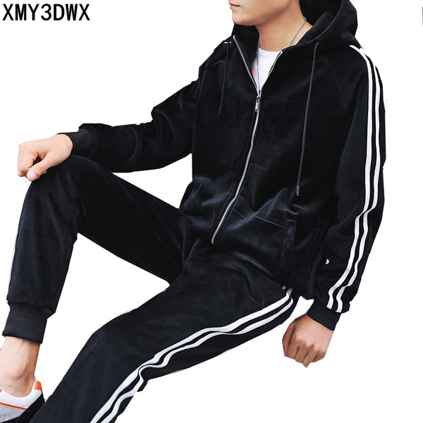 Men's Autumn Winter 2PC Hoodies Jacket+Pant Thick Tracksuit Sportswear Casual male Leisure Warm Outwear Coats Tracksuits Sets