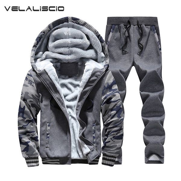 VELALISCIO Tracksuits Men Winter Tracksuit Set Solid Men Track suits Sets Coat+Pants Outwear Baseball Jacket and Sweatpant