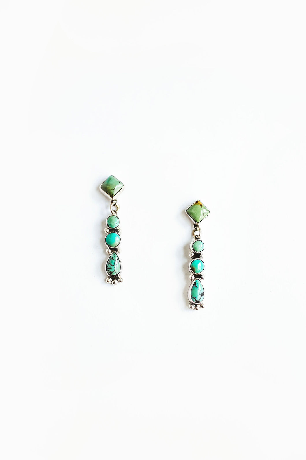 Green blue Turquoise post dangle