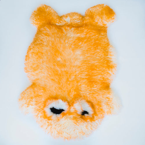 Yellow Frog Sheepskin Rug