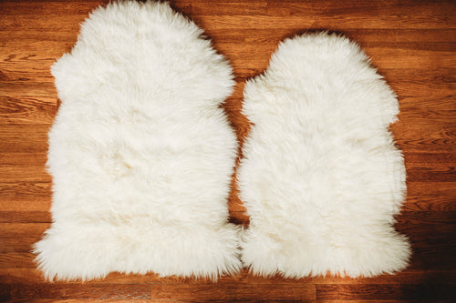 white wool sheepskin throw