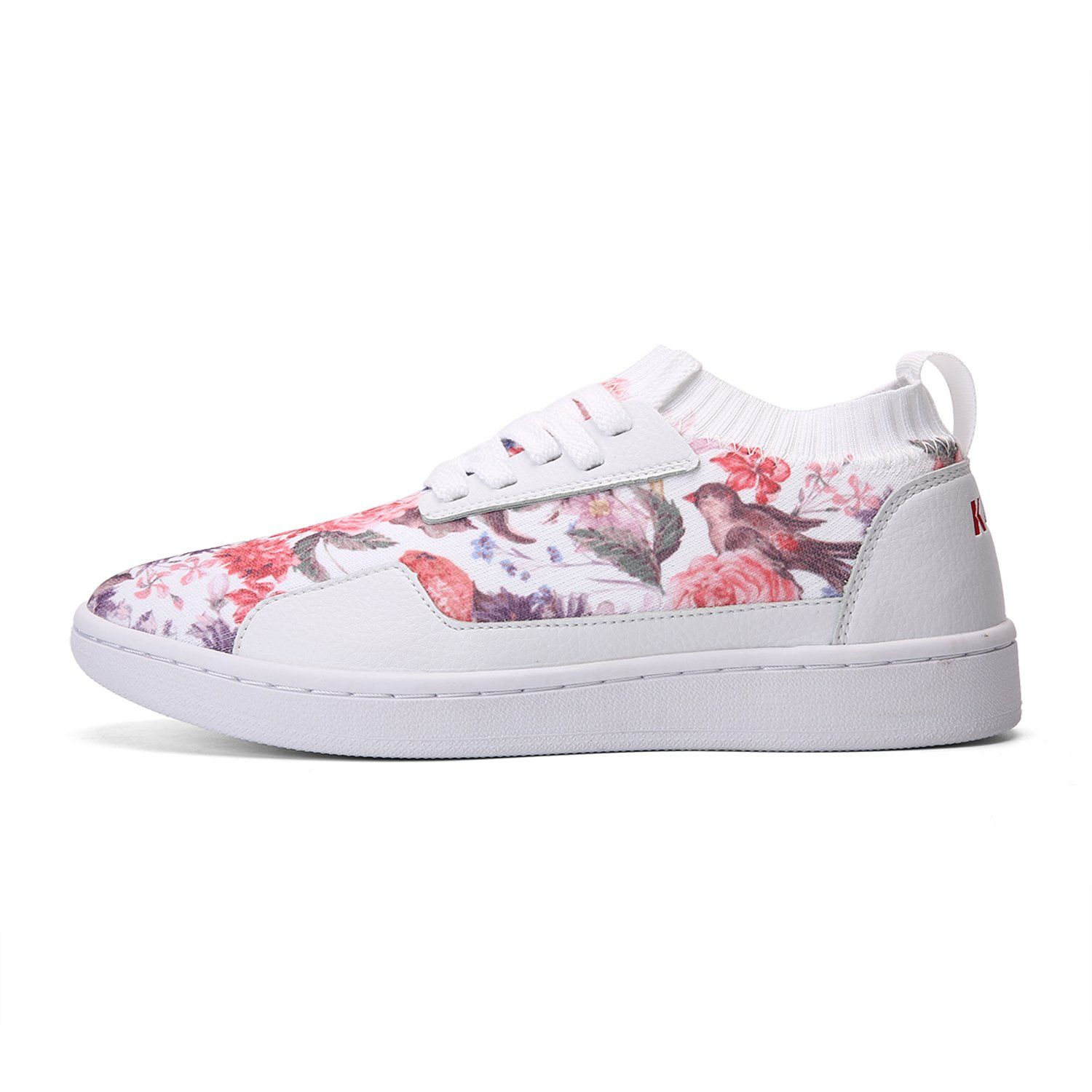 Lace Up Flower Print Freeknit Skateboard Shoes(Summer/Winter) - Soulsfeng