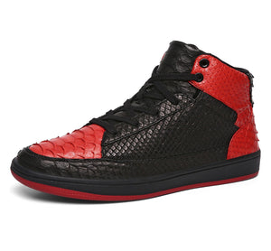 Vintage Snakeskin Leather High Top Shoes