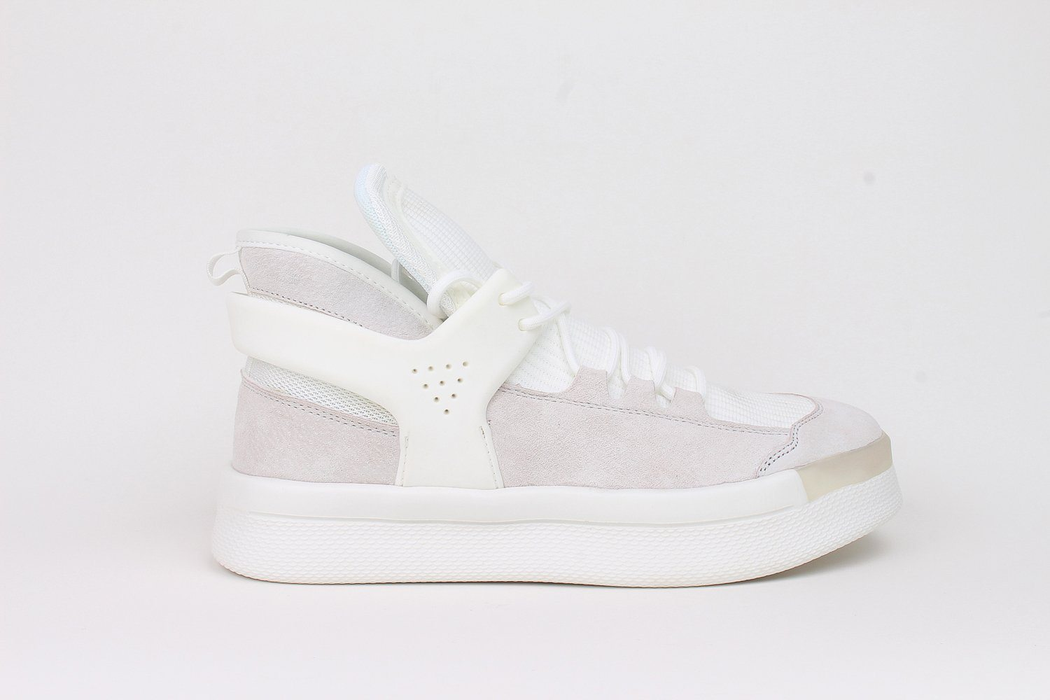 Middle Boots White Fabric Fashion Sneaker