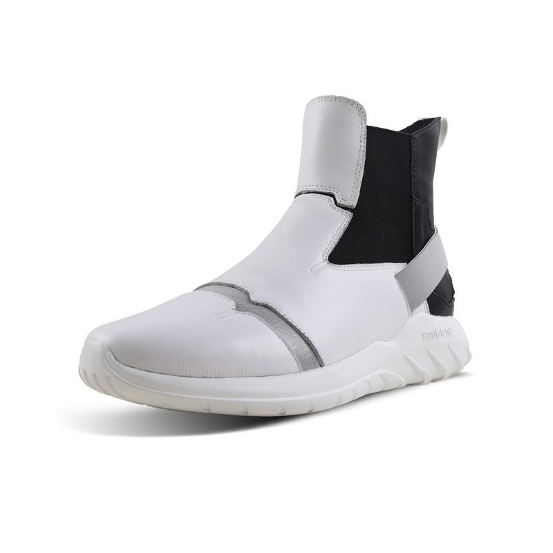 Laceless Sneakers Leather Reflective High Tops OG - Soulsfeng