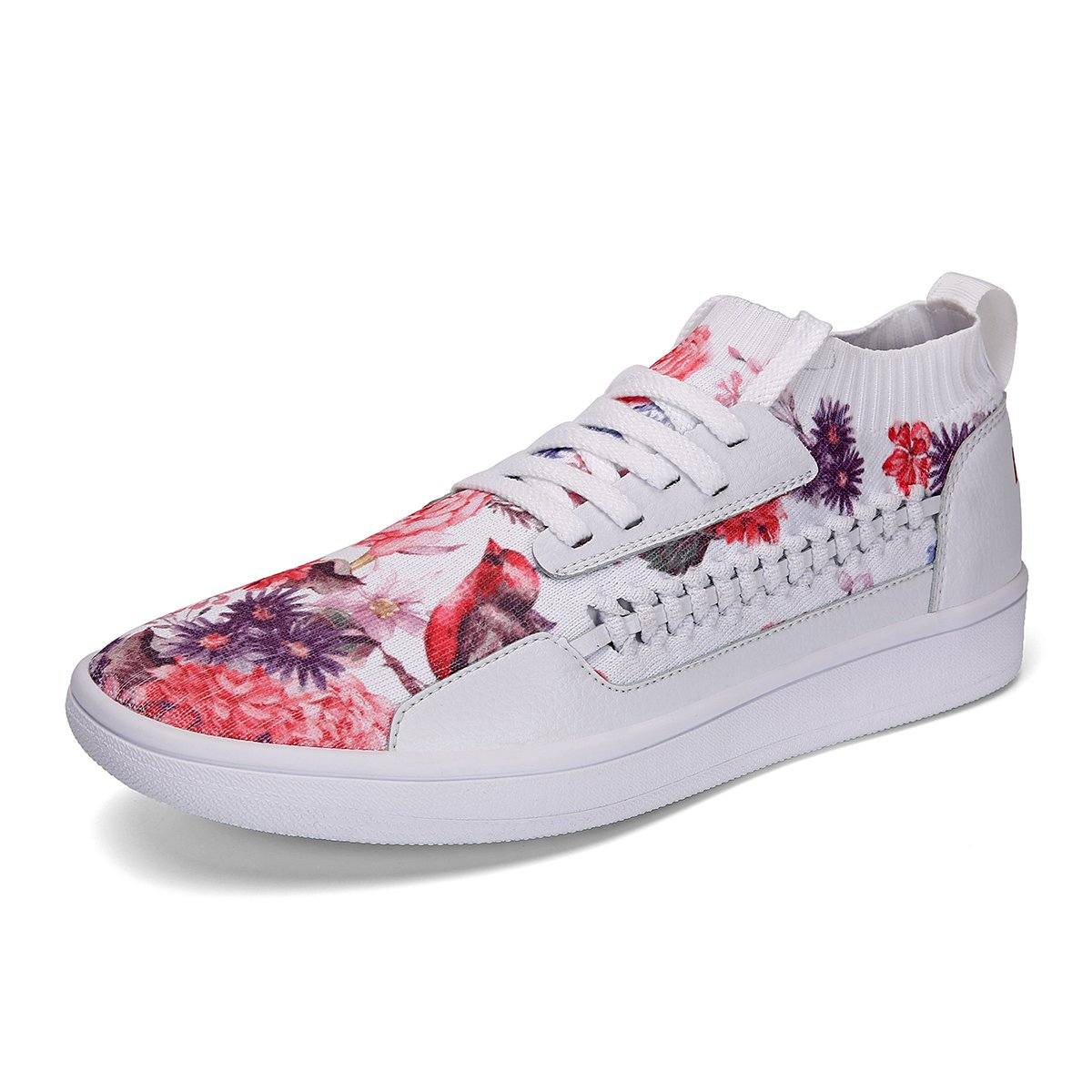 Men Women Lace Up Flower Print Knit Skateboard Shoes