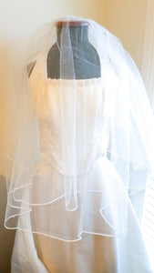 "Ladies White 2 tier 45"" Fingertip Bridal veil with pearls and ribbon edging"