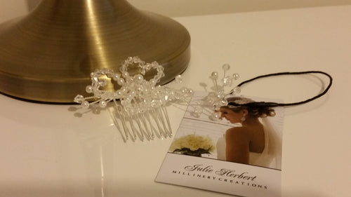 Swarovski white pearls with crystal comb