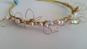 Swarovski Pink Pearl with gold wire headband